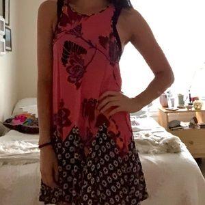 Free People pink floral swing dress